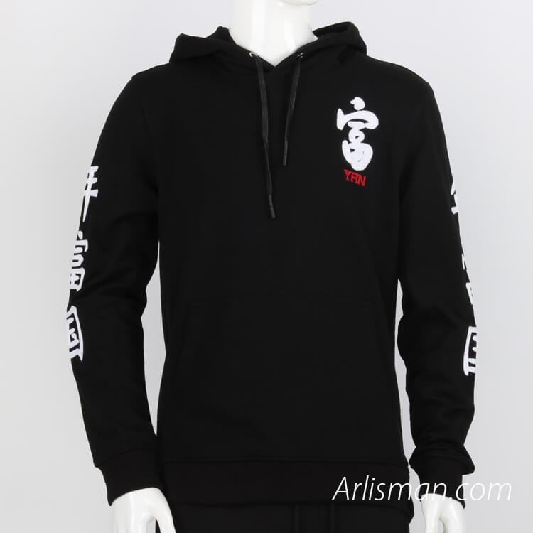 Men's black 100%cotton sweater - embroid